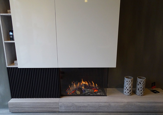 Gas Fire With Cupboards